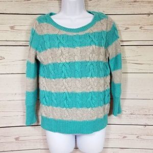 LOFT cable knit striped crewneck pullover sweater